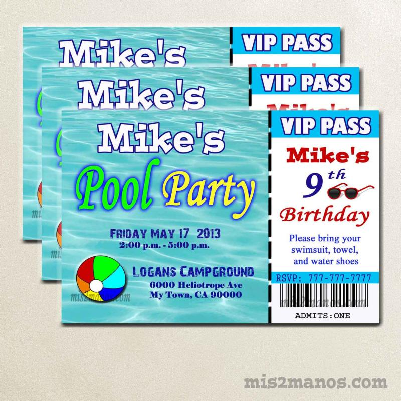 Pool Party Ticket Invite Printable Birthday By Mis2Manos On Zibbet