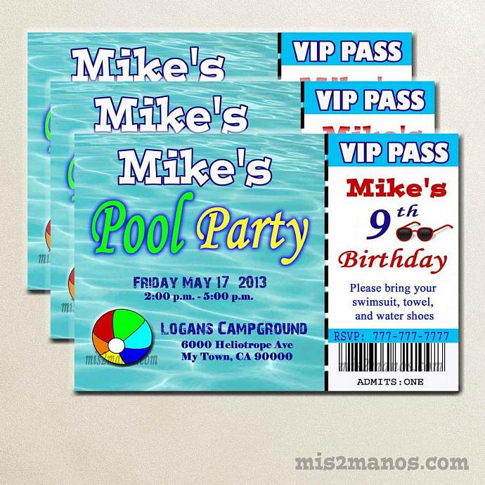 Pool Party Ticket Invite Printable Birthday Party Print At Home Invites Girls Summer Birthday Invitations