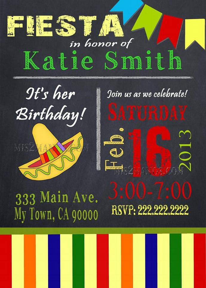 Chalkboard fiesta birthday party invitation by mis2manos on zibbet chalkboard fiesta birthday party invitation printable digital fiesta mexicana filmwisefo