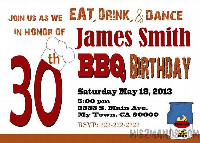 BBQ 30th Surprise Party PRINTABLE INVITATIONS 40th Birthday Party Invitations