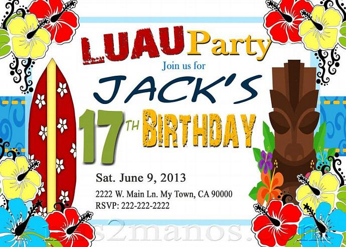 Luau Birthday Invitation DIY Custom Printable Aloha Party Print at Home Invites