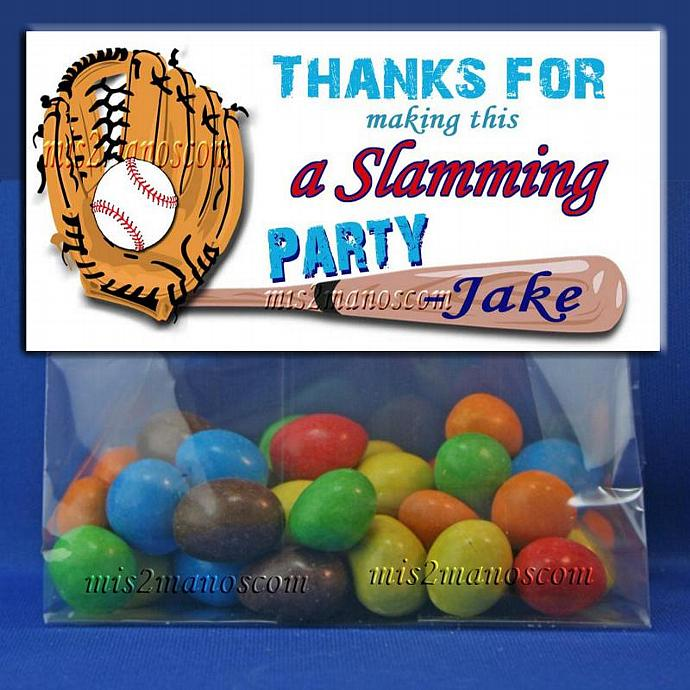 PRINTABLE CANDY BAGS Baseball Party Favors Treat Bag Topper- Set of 6