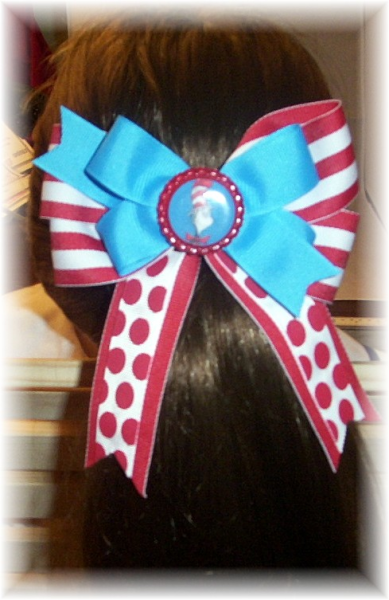 Cat In The Hat Dr. Seuss Hair Bow with Bottle Cap FREE SHIPPING