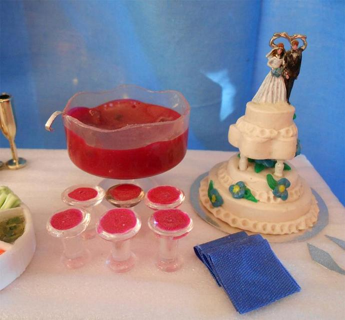 Wedding Banquet Table in One Inch Dollhouse Scale