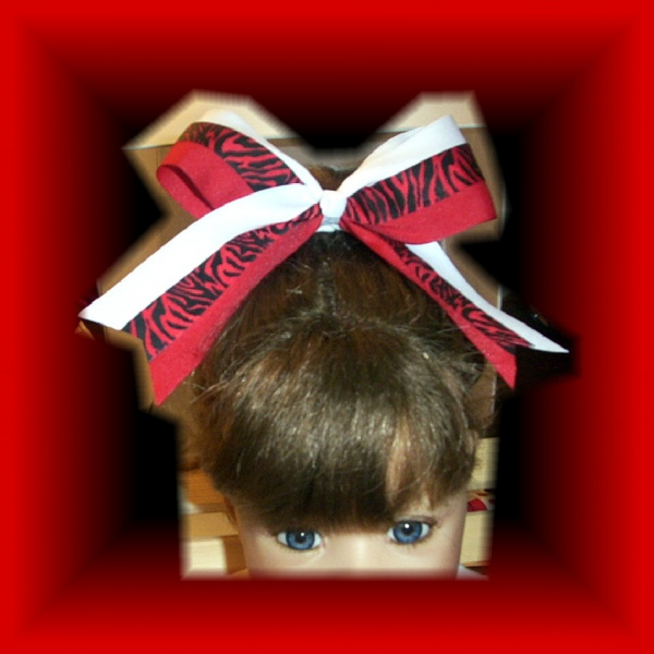Red White Black Zebra Spirit CHEER Bow  FREE SHIPPING