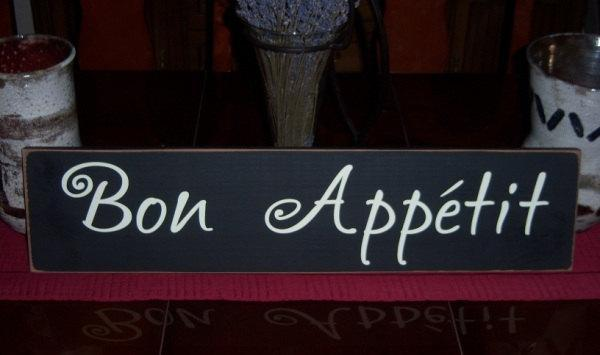Delightful Bon Appetit Hand Painted Kitchen Wood Sign