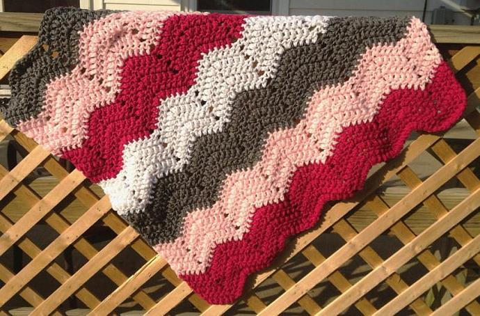 Crochet Baby Blanket Pink Grey White Chevron By Spinningsheep On