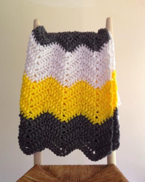 Crochet Baby Blanket Chevron Pattern Yellow Spinningsheep