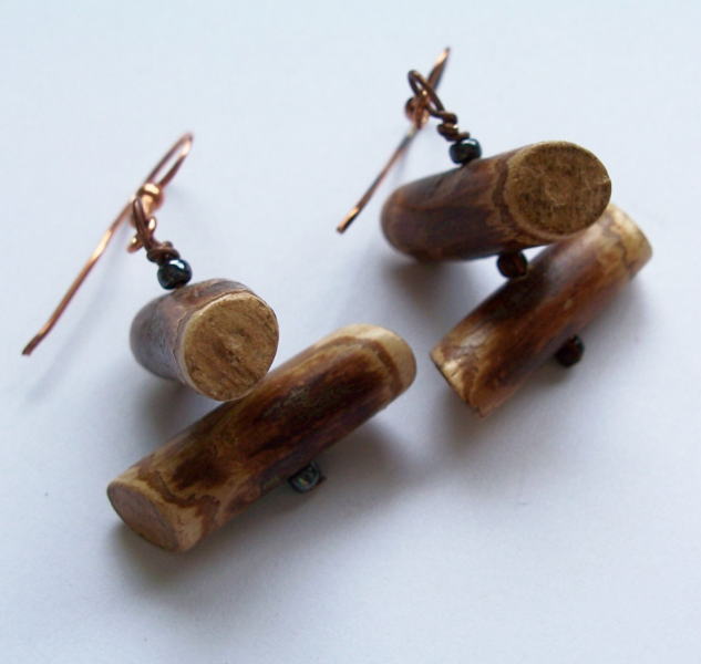 Woodland Log Earrings on Copper