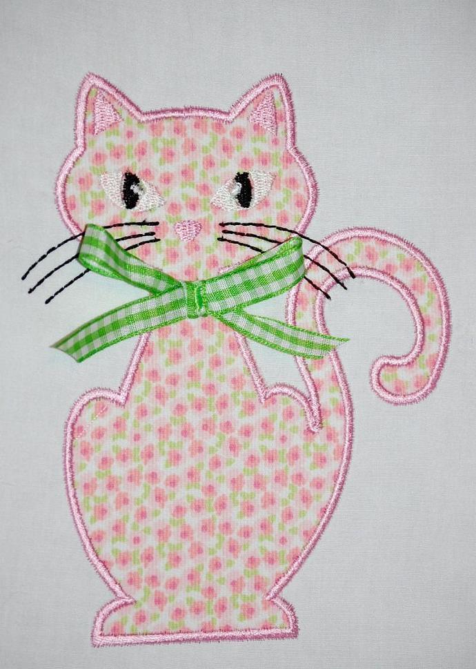 Miss Kitty Applique Design Machine Embroidery Design