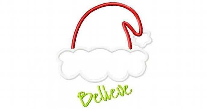 Santa Hat applique design machine embroidery design