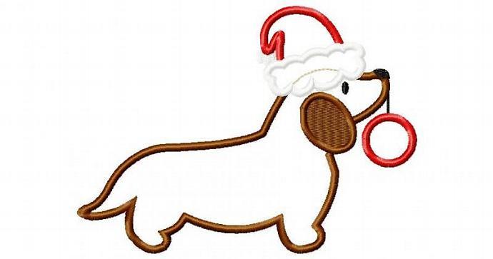 Weiner Dog Santa Applique Design Machine Embroidery Design