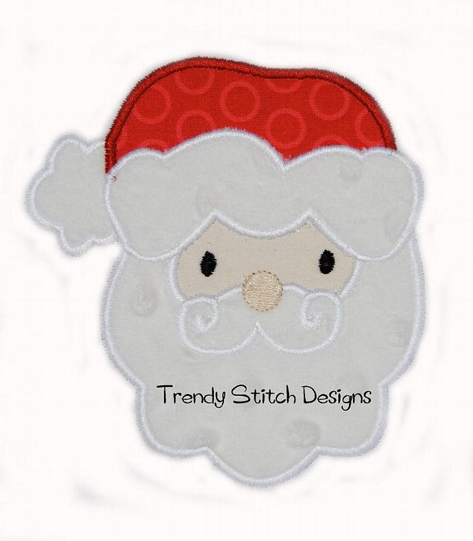 Santa Face Applique Design Machine Embroidery Design