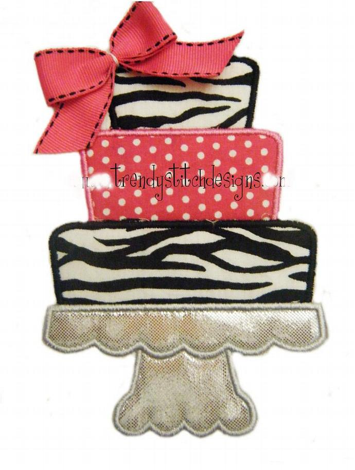 Cake on Pedestal Applique Design Machine Embroidery Design INSTANT DOWNLOAD