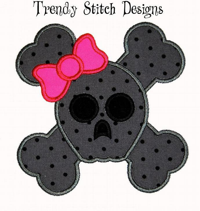 Skull and Crossbones GIRL Applique Design Machine Embroidery Design