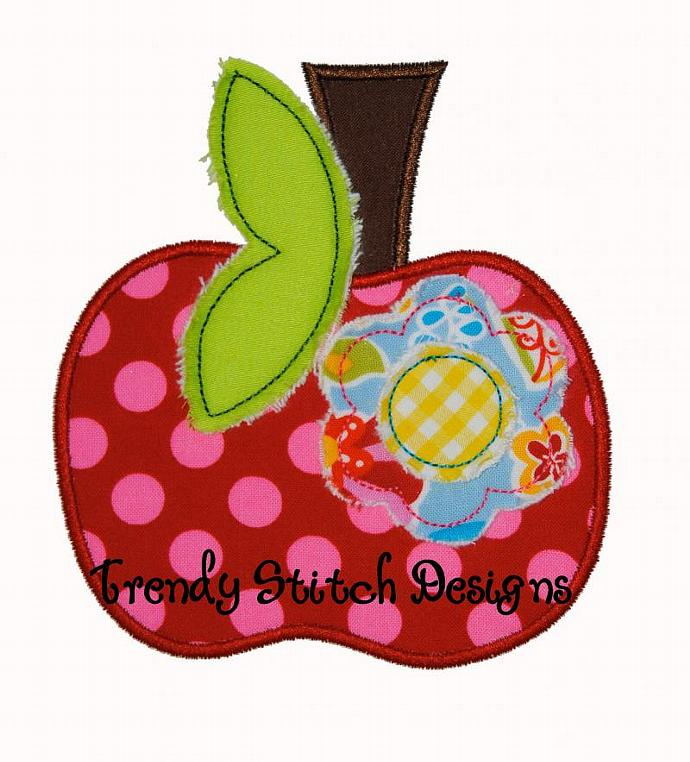 Apple Flower Applique Design Machine Embroidery Design Back to School INSTANT