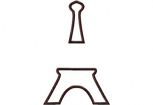 Eiffel Tower SPLIT Applique Design Machine Embroidery Design
