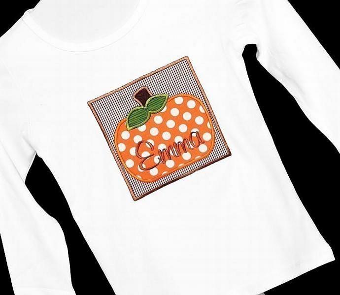 Chubby Pumpkin Applique Machine Embroidery Design