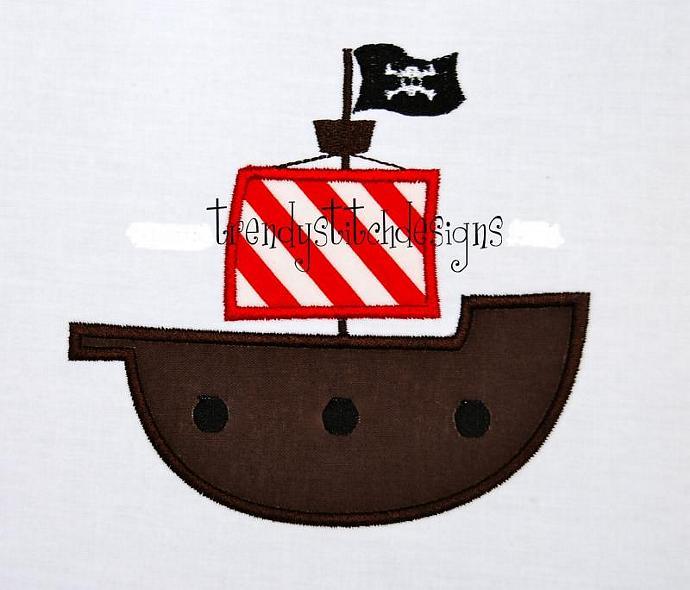 Pirate Ship Applique Machine Embroidery Design INSTANT DOWNLOAD