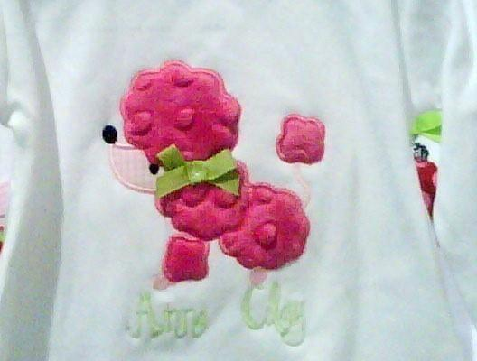 Little Poodle Dog Applique Design Machine Embroidery Design