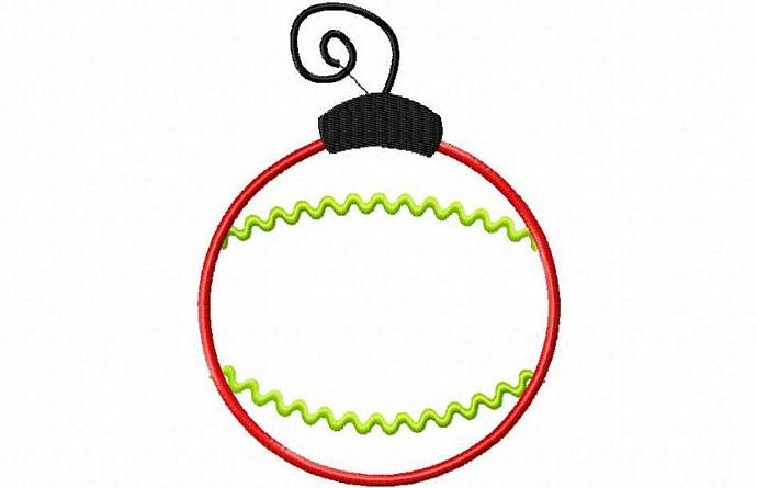 Christmas Ornament 2 Applique Design Machine Embroidery Design