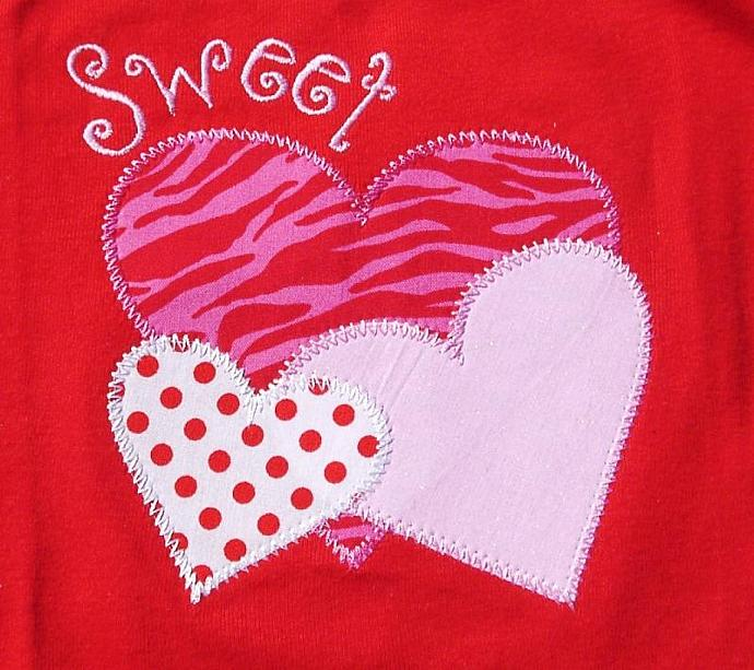 Hearts Stacked Applique Machine Embroidery Design