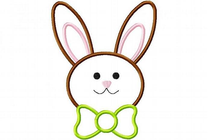 Bunny Face BOY tie Applique Design Machine Embroidery Design Easter Bunny