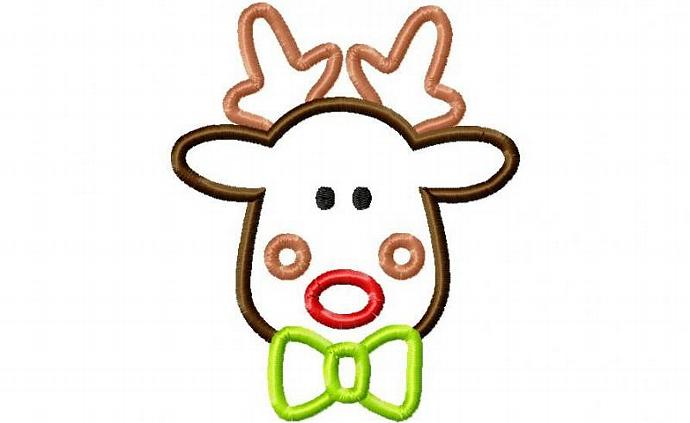 Rudolph Bowtie Applique Machine Embroidery Design