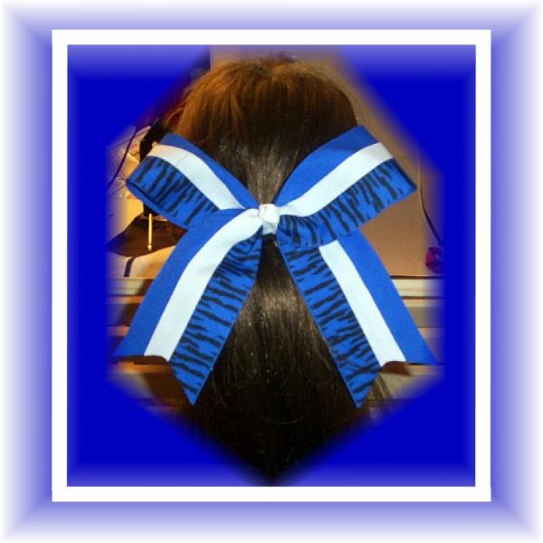 Royal Blue Black Zebra Spirit CHEER Bow  FREE SHIPPING