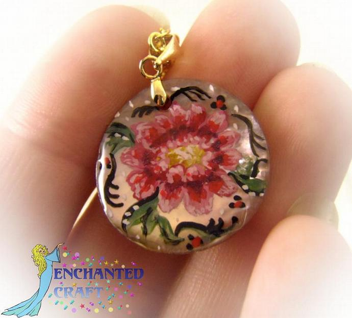 hand painted Rosemaling pink flower shell pendant with silver bail