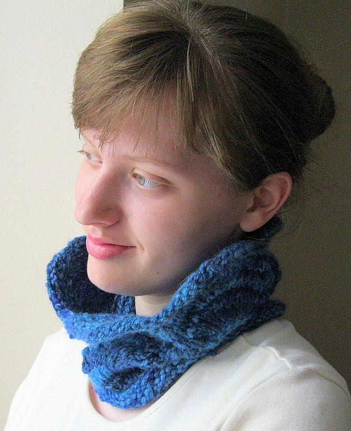 Knit cowl neck warmer, blue, wool