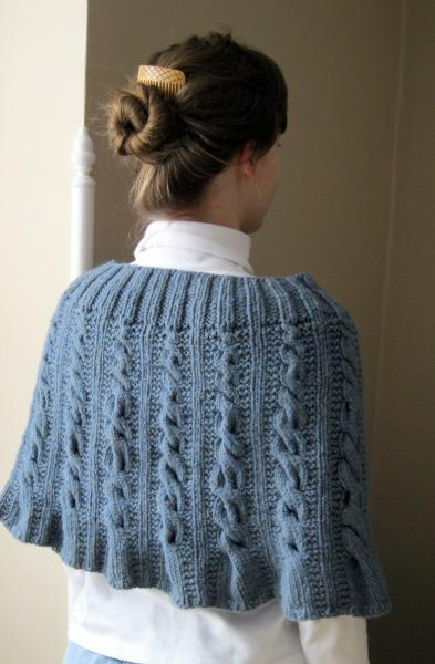 Capelet, womens capelet, hand knit, cable knit, knit poncho, wool cape