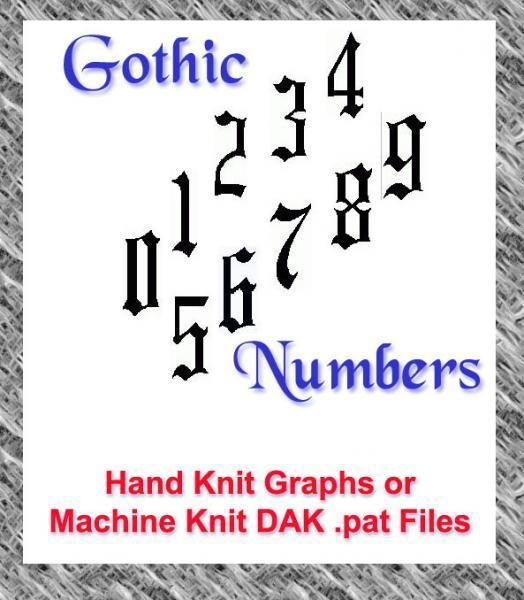 Gothic Numbers Patterns HandKnit Graphs or MachineKnit DAK