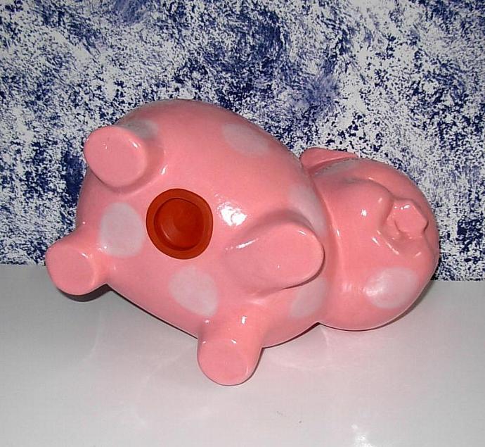 Large Ceramic Piggy Bank  -  Vintage Design  -   Pink with White Polka Dots
