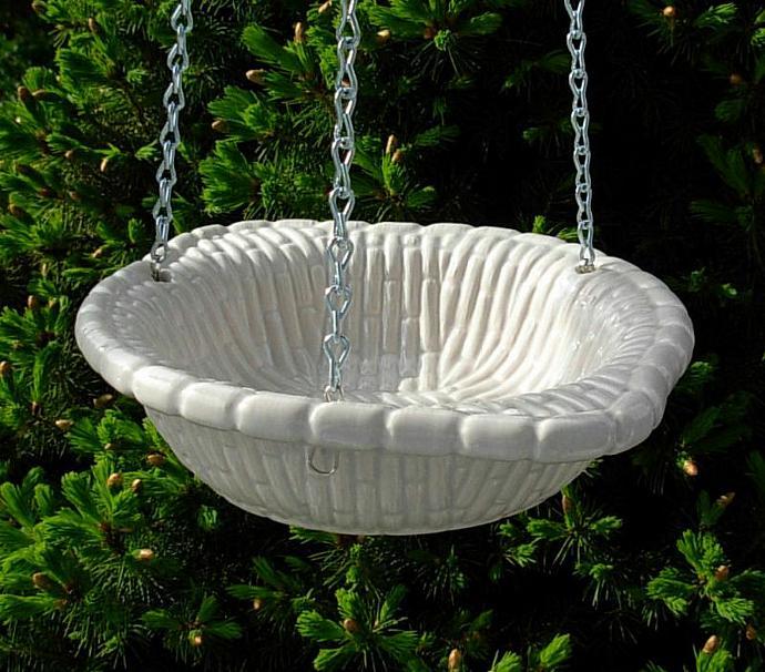 Hanging Bird Feeder - Bird Bath - Fruit Basket  -  White