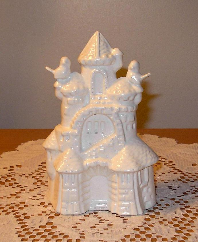 "Ceramic Sand Castle Wedding Cake Topper w/ Base  -  ""Sand Castle with Love"