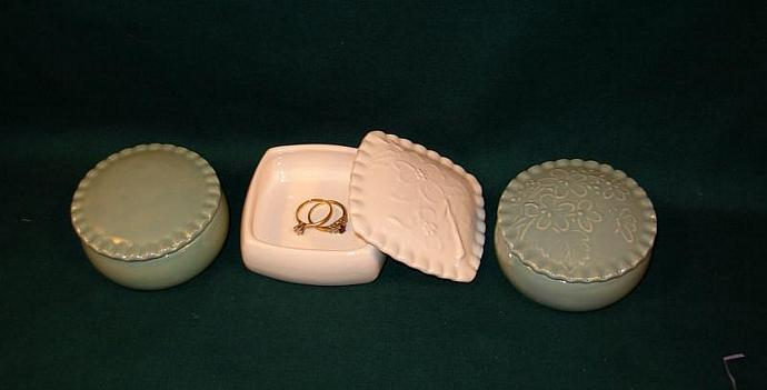 Dogwood Jewelry Box / Ring Holder / Wedding Favor   -   Celedon