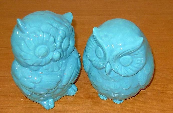 Hootie - Ceramic Owl Figurines   -  Aqua Fresca