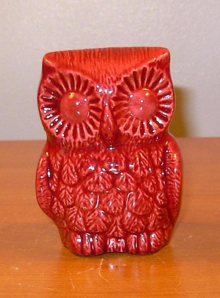 Hootie Hoot Hoot - Ceramic Owl Figurine   -  Ruby Red