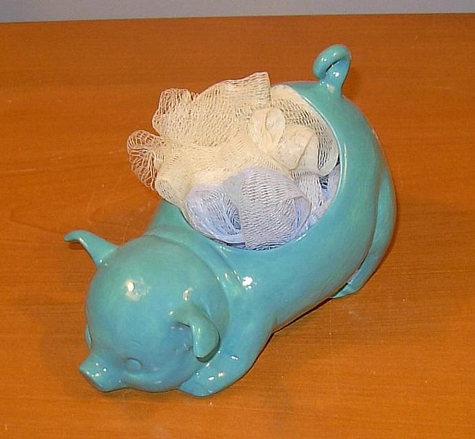 Ceramic Pig Planter / Soap Dish / Scrubby Holder - Aqua Fresca Glaze  -  Ready