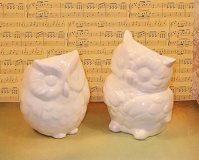 Hootie - Ceramic Owl Vases Wedding Cake Topper    -   Classic White