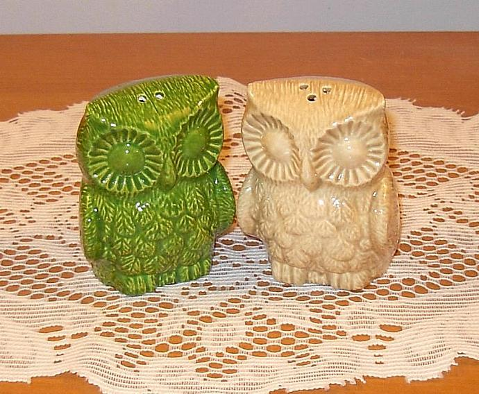 Hoot Hoot -- Ceramic Owl Wedding Cake Toppers / Owl Salt and Pepper Shakers  -