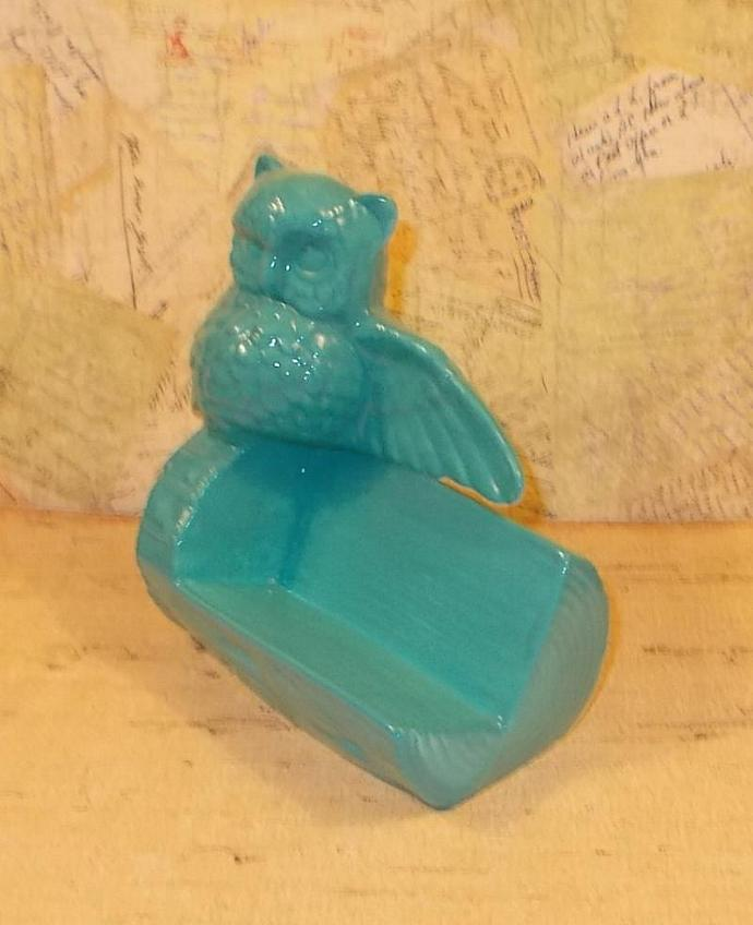 Ceramic Owl Business Card Holder - Turquoise