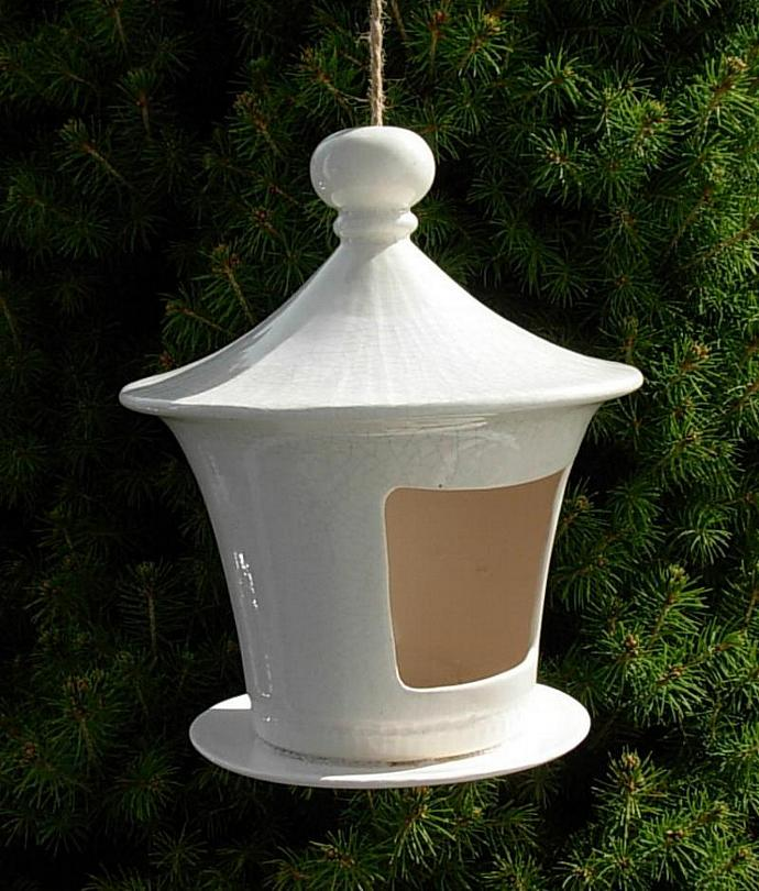 Bird House / Bird Feeder  -  White