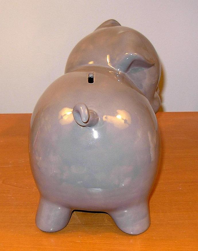Large Ceramic Piggy Bank  -  Vintage Design  -  Large  -  Grey