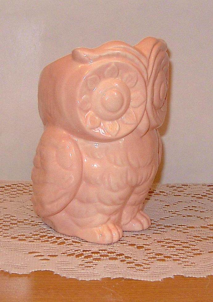 Tiki Owl Ceramic Owl Planter / Vase / Pencil Holder -  Tearose Pink