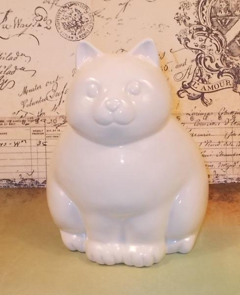Kitty Cat Piggy Bank - Ceramic Cat Bank  - White -  Ready to Ship
