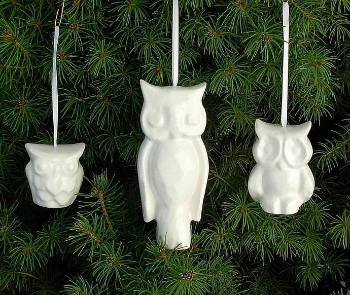 Ceramic Owl Christmas Tree Ornaments - Set of Three - Classic White