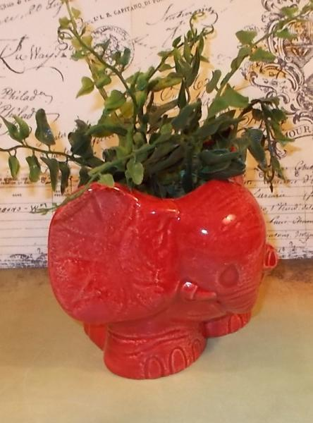 Elephant Planter / Vase / Pencil Holder / Scrubby Holder - Cranberry Red  -