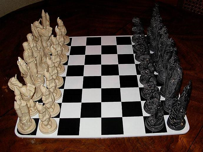 Ceramic Chess Set   -   Doc Holliday  ---Mystical--- Good vs. Evil